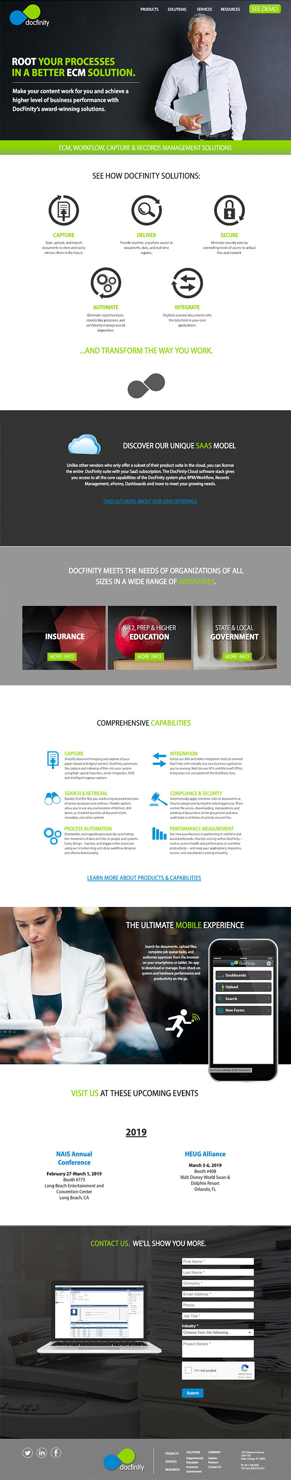 DocFinity ECM Solutions Website