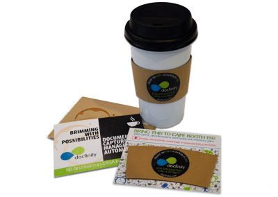 Coffee Mailer and In-booth Coffee Sleeve Branding
