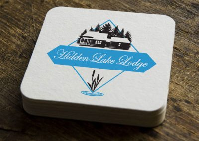 Hidden Lake Lodge Logo on Coasters
