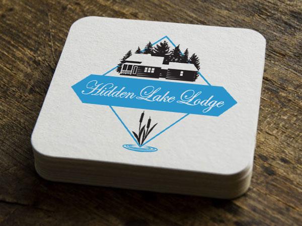 Hidden Lake Lodge Logo on Coasters
